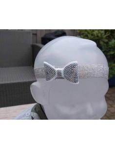 Haarband zilver strik