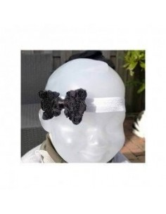 Haarband zwarte bloem  strik